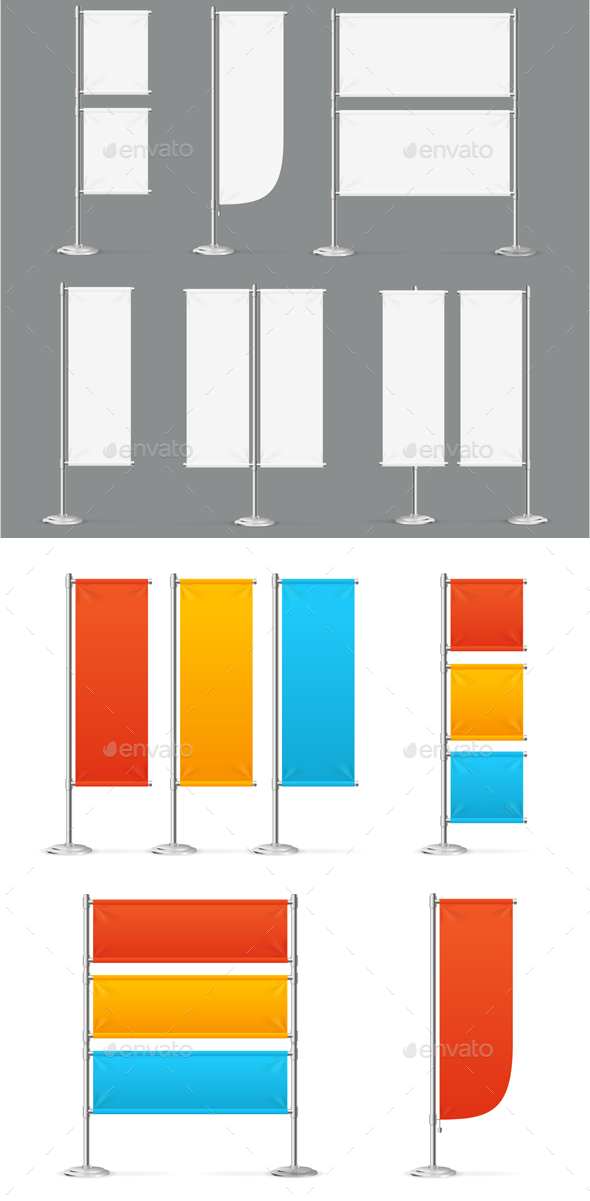 Blank Banner Flag Mockups - Man-made Objects Objects