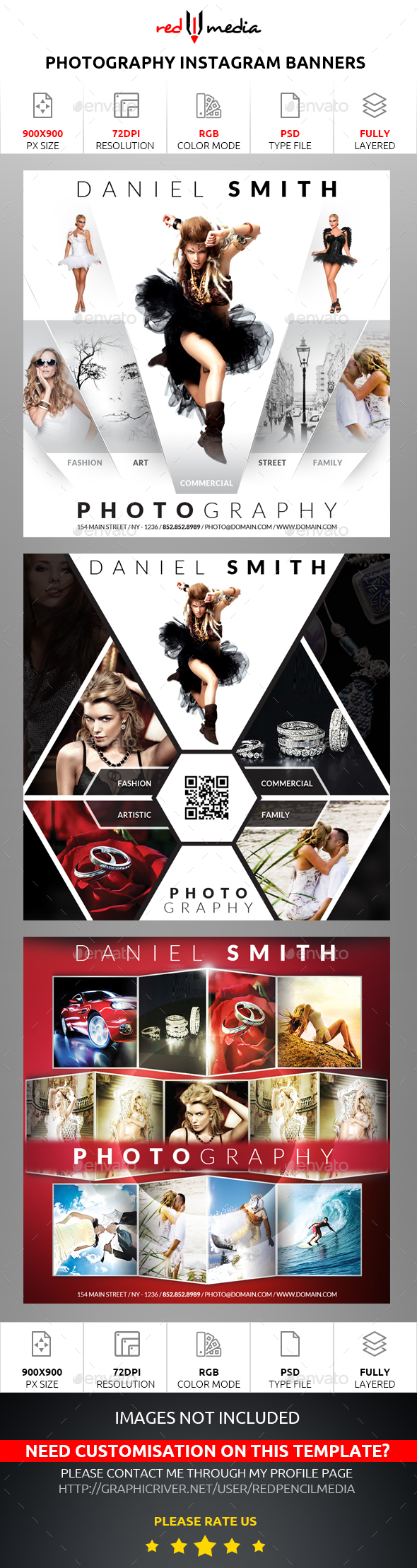 Photography Instagram Banners - Banners & Ads Web Elements