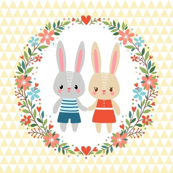 Illustration with Bunnies - Weddings Seasons/Holidays