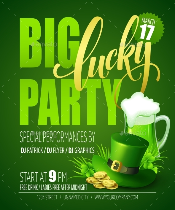 Lucky Party Poster St. Patricks Day - Miscellaneous Seasons/Holidays