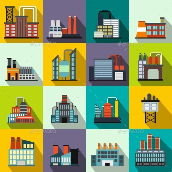 Industrial Building Factory Flat Icons - Miscellaneous Icons