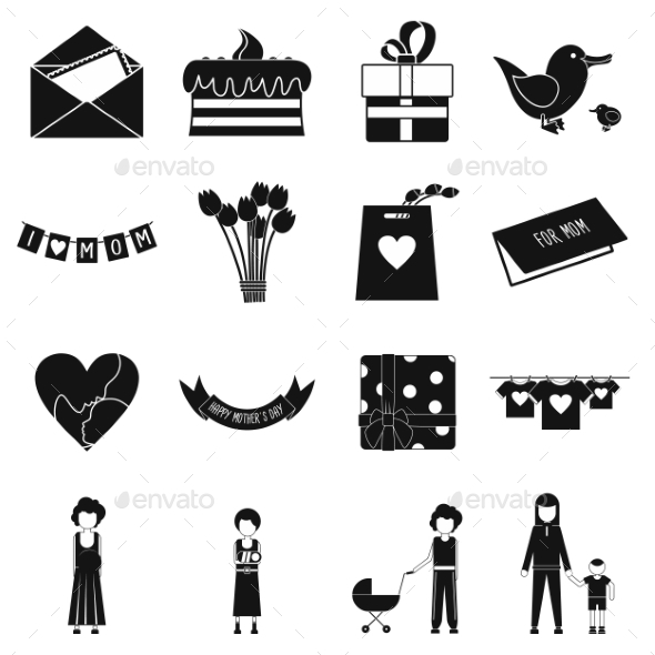 Mother Day Black Simple Icons - Miscellaneous Icons