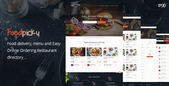 Foodpicky - Online food ordering from local restaurants - Restaurants directory - PSD - Food Retail