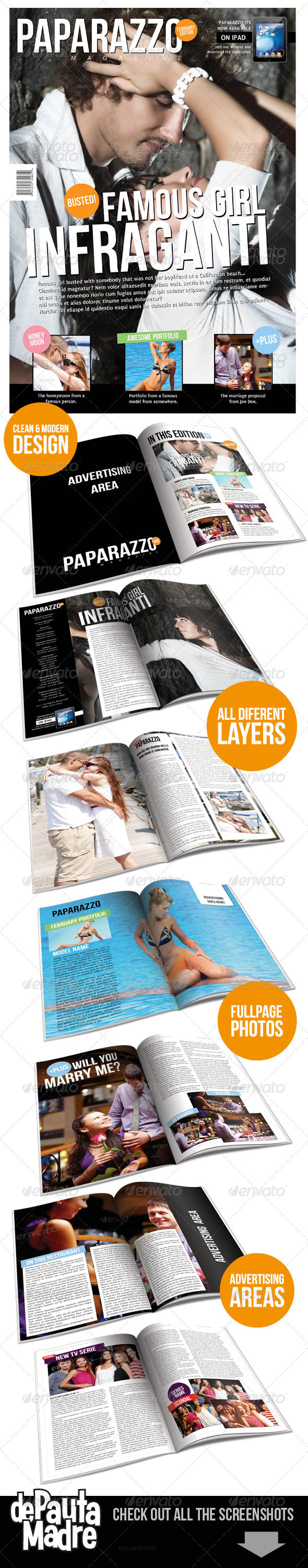 Paparazzo Magazine Indesign Template - Magazines Print Templates