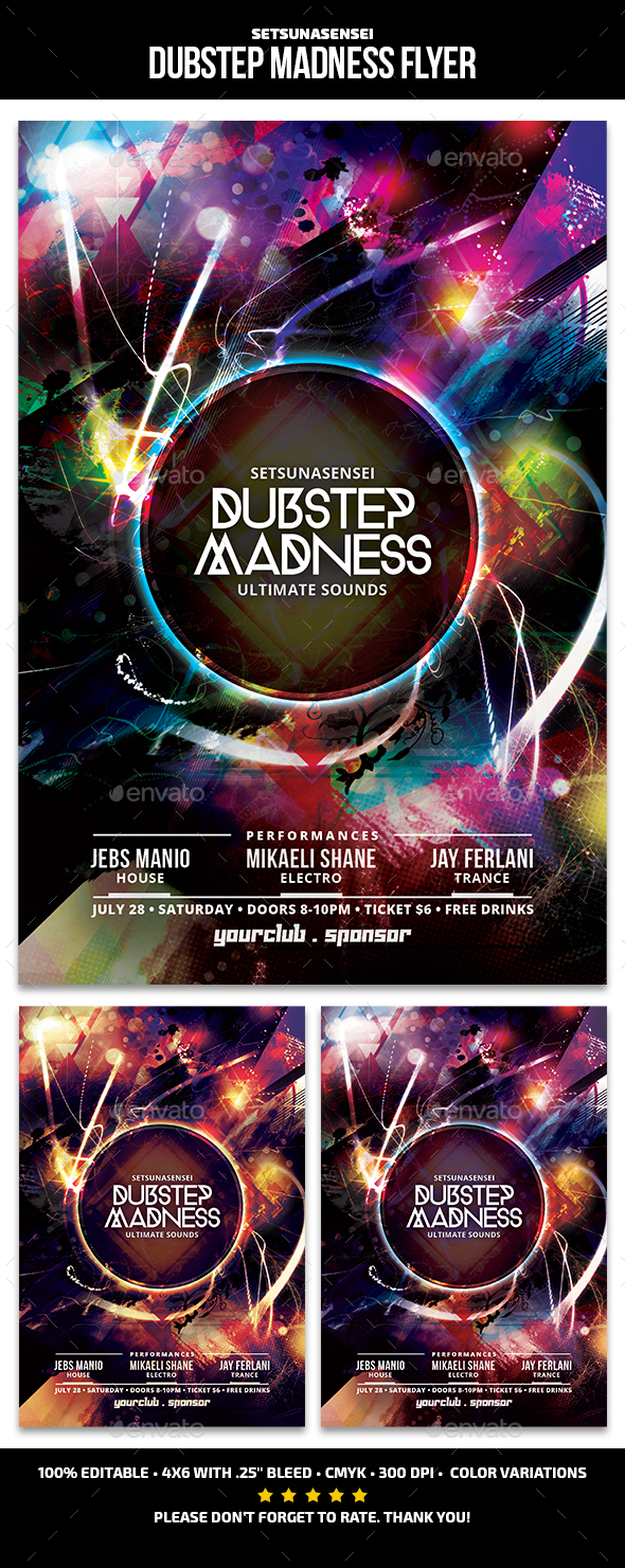 Dubstep Madness Flyer - Clubs & Parties Events