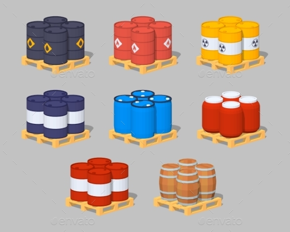 Barrels on the Pallets - Man-made Objects Objects