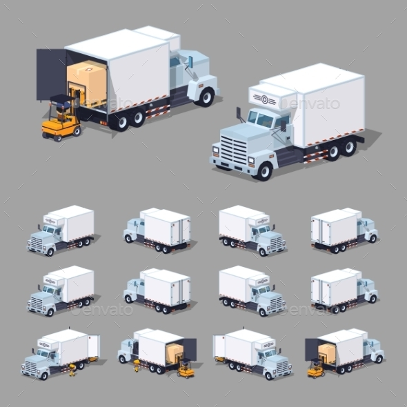 White Truck Refrigerator - Man-made Objects Objects