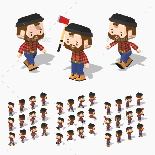 Low Poly Lumberjack - People Characters
