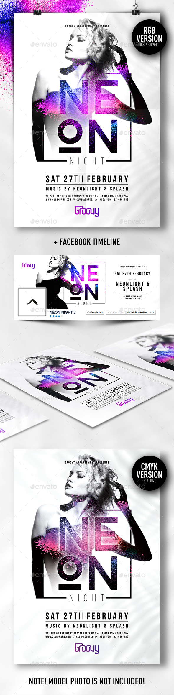 Neon Night V2 Flyer - Clubs & Parties Events