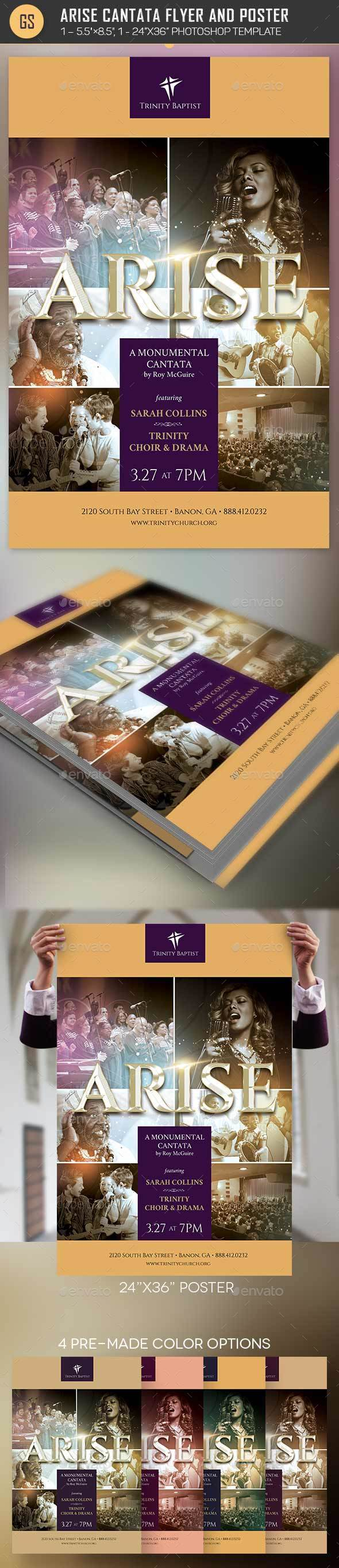Arise Cantata Flyer Poster Template - Church Flyers
