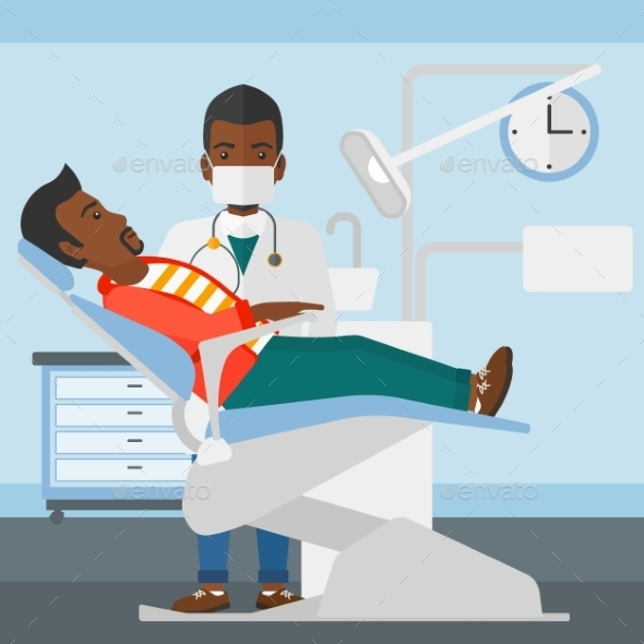 Dentist and Man in Dentist Chair - Health/Medicine Conceptual