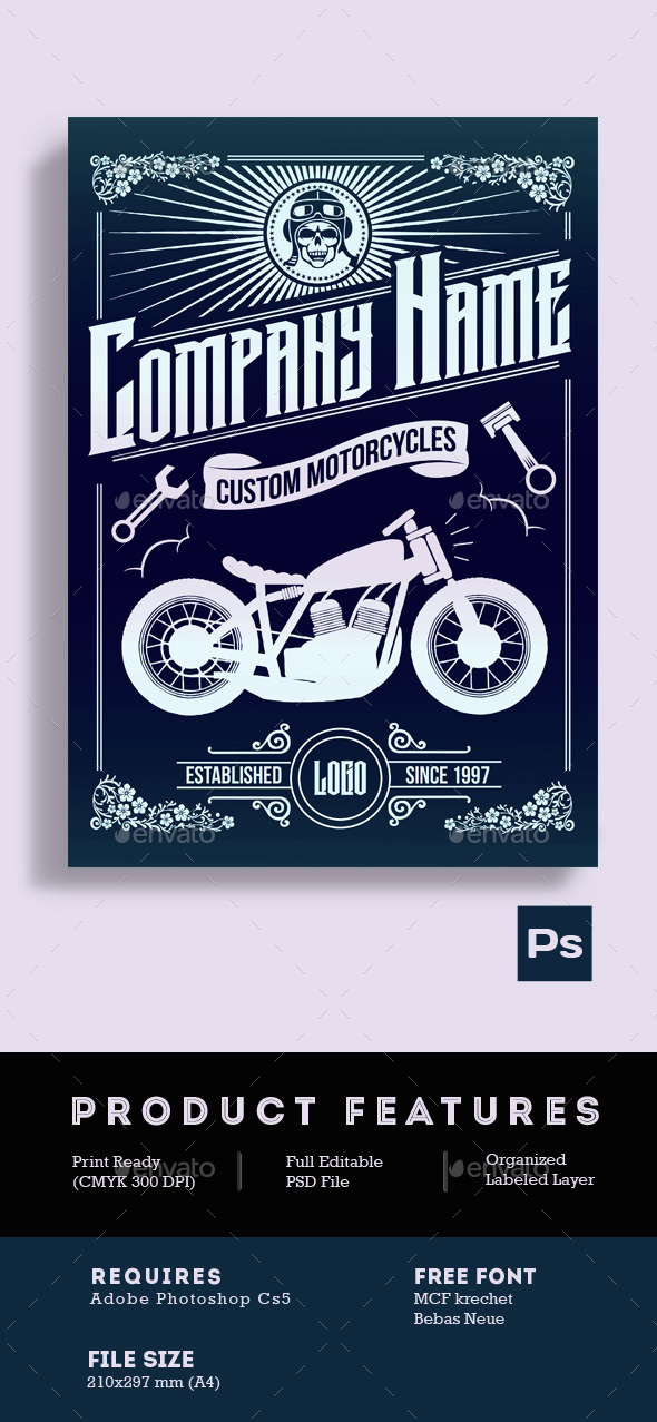 Custom Motorcycle Poster Flyer - Flyers Print Templates