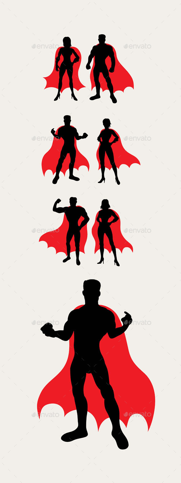 Couple Superhero Silhouettes - People Characters