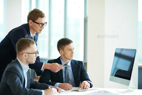 Attention at monitor - Stock Photo - Images