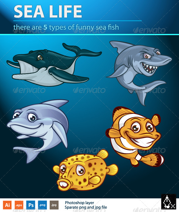Sea life pack - Animals Characters