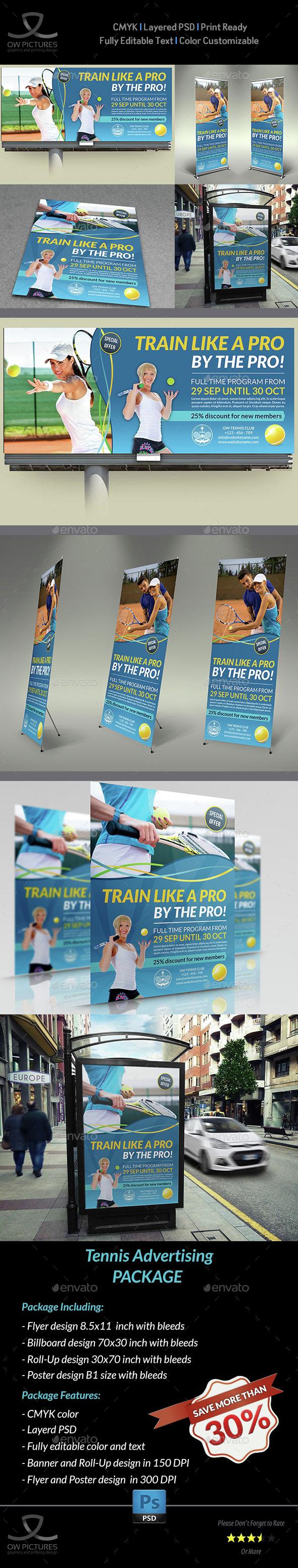Tennis Avertising Bundle - Signage Print Templates