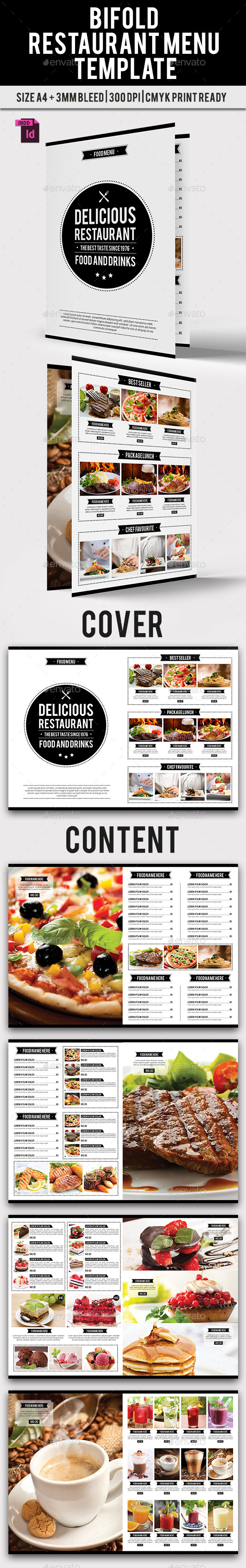 BiFold Restaurant Menu Vol. 9 - Food Menus Print Templates