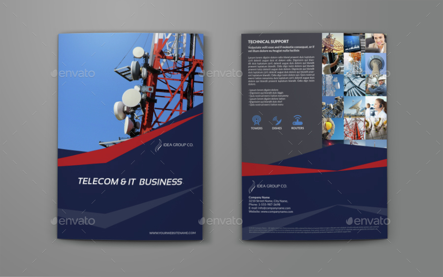 Telecom Services Bi Fold Brochure Template By Owpictures Graphicriver