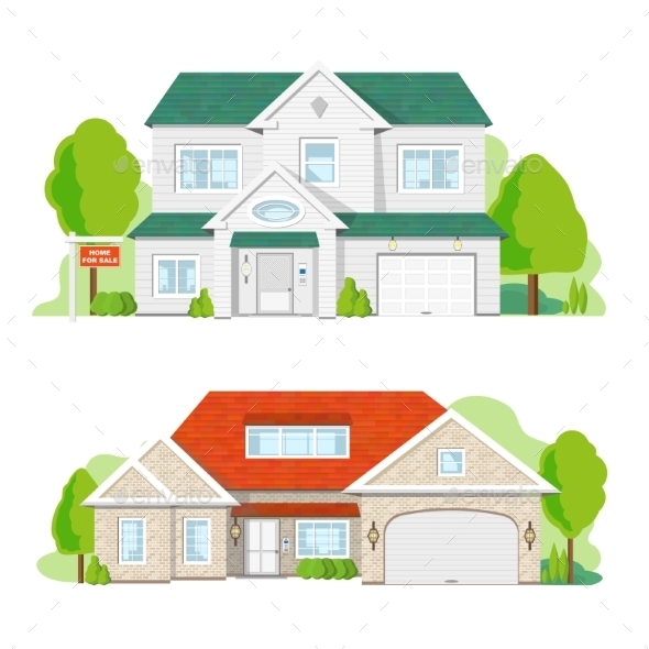 House on White Background - Buildings Objects
