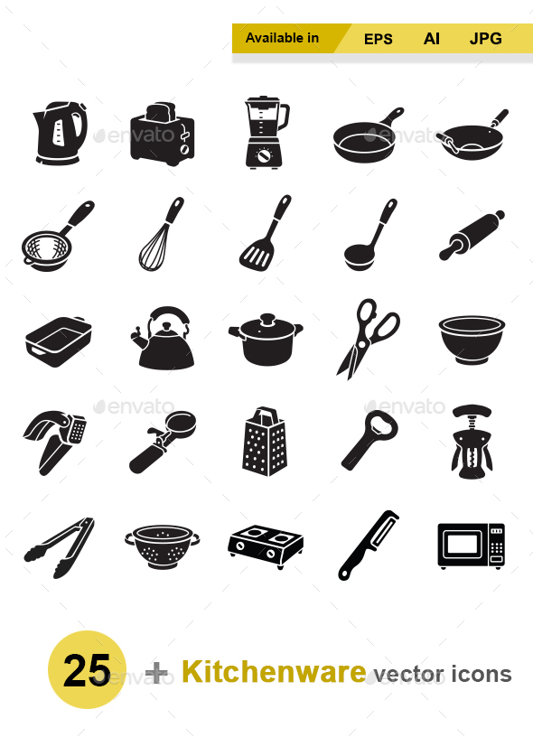 Kitchenware vector icons - Man-made objects Objects