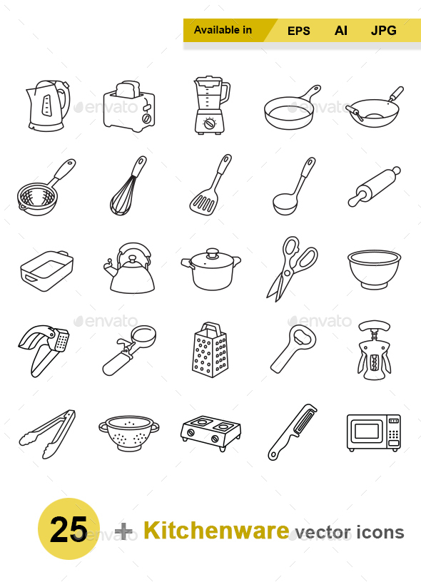 Kitchenware outlines vector icons - Man-made objects Objects