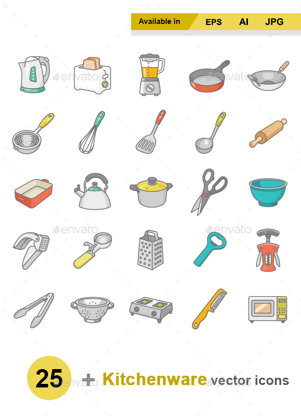 Kitchenware color vector icons - Man-made objects Objects