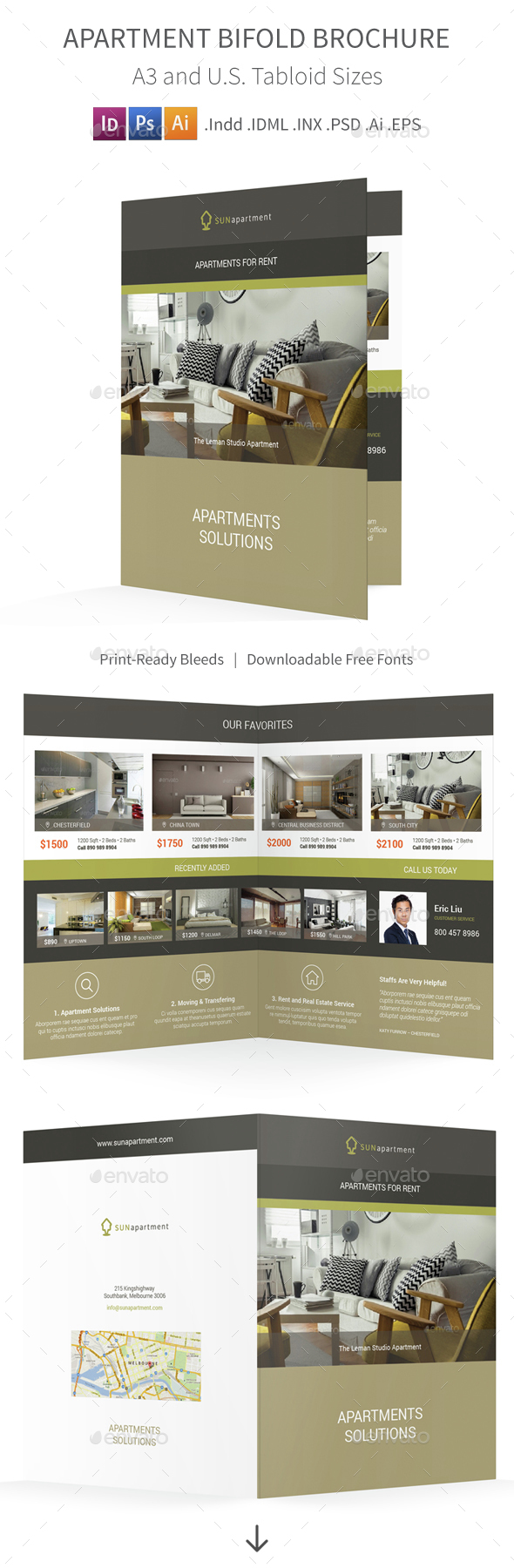 Apartment For Rent Bifold / Halffold Brochure 2 - Informational Brochures