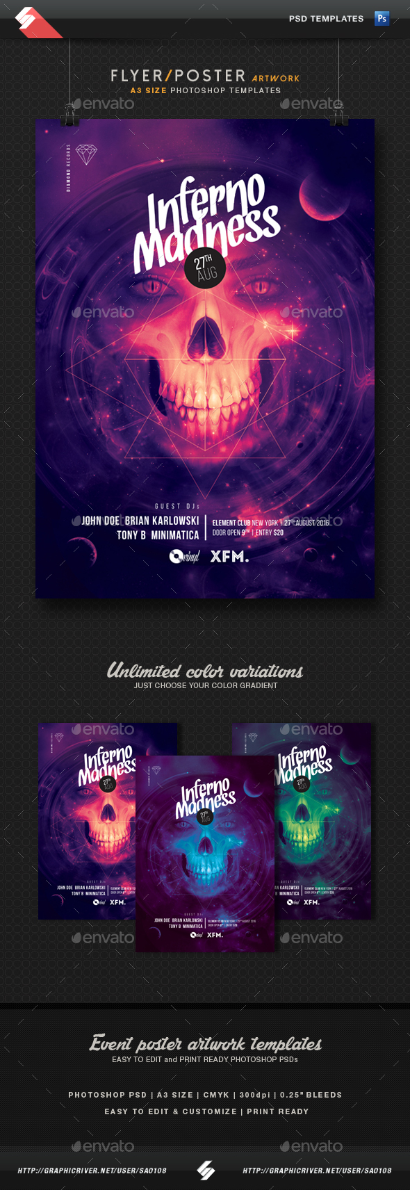 Inferno Madness - Party Flyer, Poster Template A3 - Clubs & Parties Events