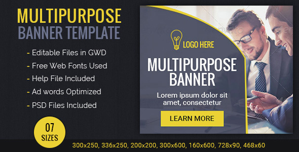 GWD | Multipurpose HTML5 Ad Banners - 07 Sizes - CodeCanyon Item for Sale