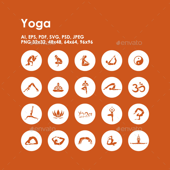 20 Yoga icons - People Characters