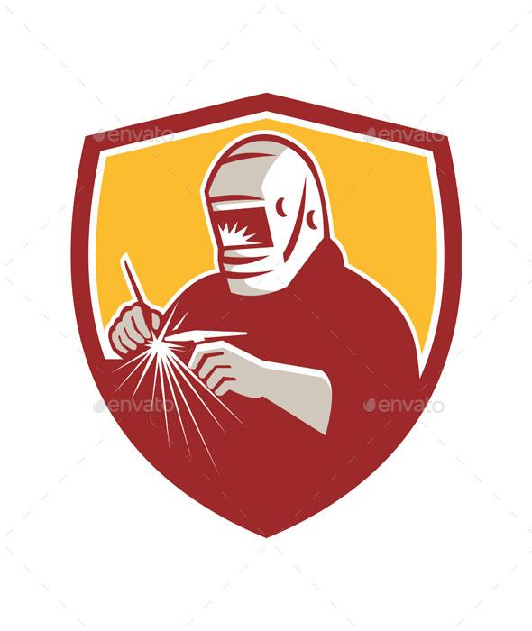Retro Tig Welder Welding Crest  - People Characters