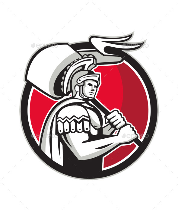 Roman Centurion Carry Flag Circle Retro - People Characters