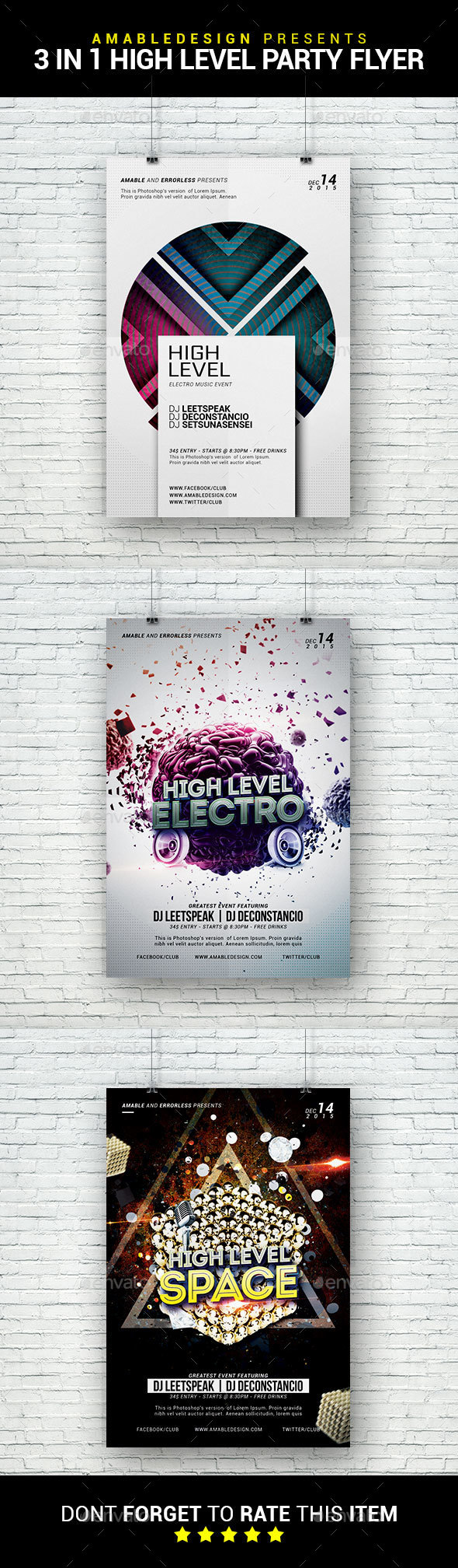 3 in 1 High Level Flyer/Poster Bundle - Clubs & Parties Events