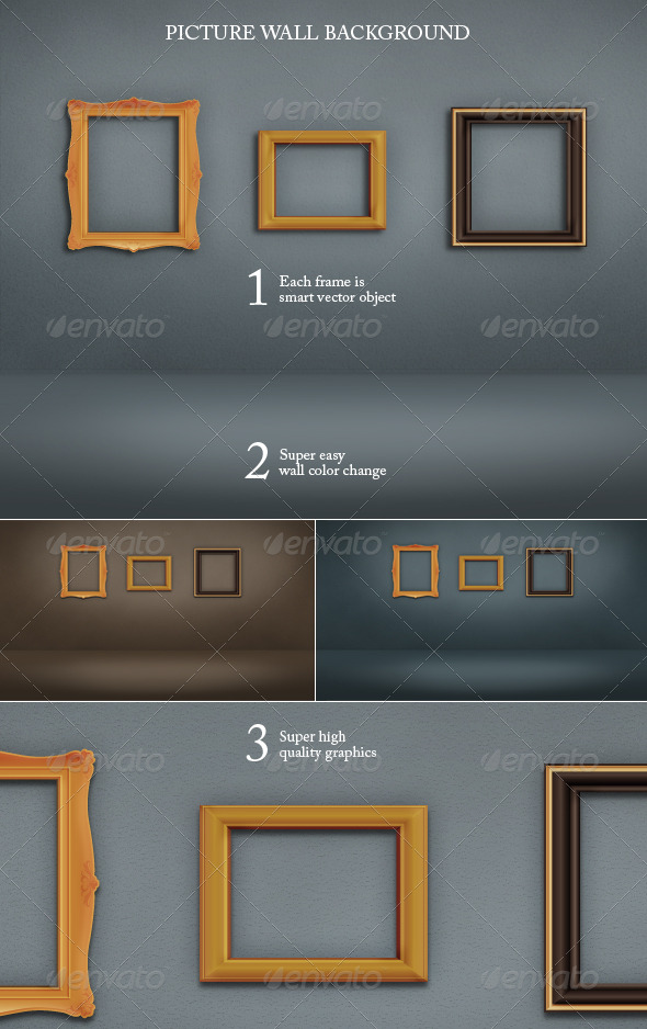 Wall and Floor Background with Picture Frames - Backgrounds Graphics