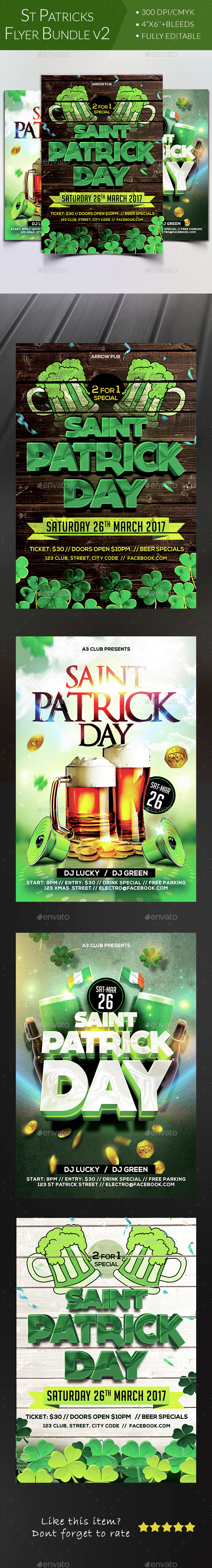St Patricks Day Flyer Bundle V2 - Clubs & Parties Events