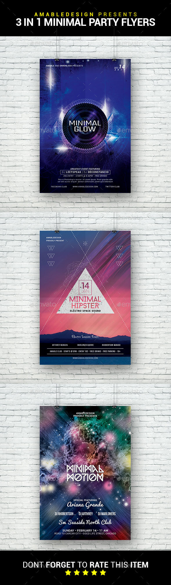 3 in 1 Minimal Party Flyer/Poster Bundle - Clubs & Parties Events