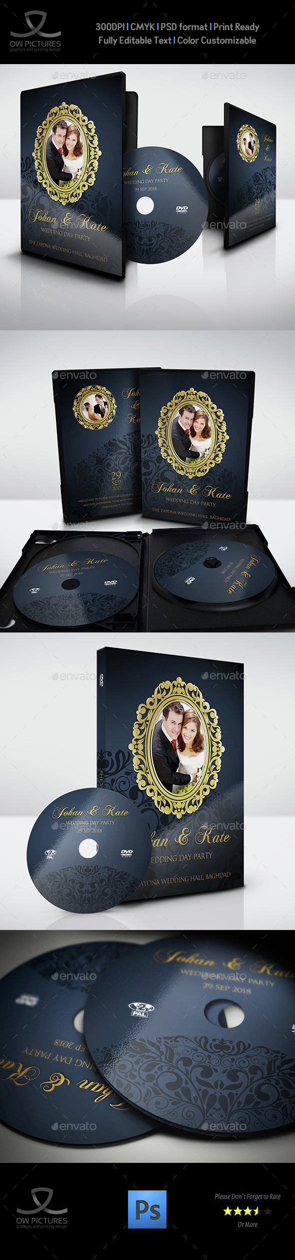 Wedding DVD Cover and DVD Label Template Vol.7 - CD & DVD Artwork Print Templates