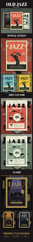 Old Jazz Festival Flyer Bundle - Events Flyers