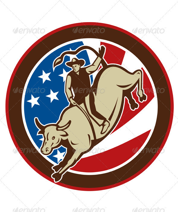 American Rodeo Cowboy Riding Bull - Animals Characters