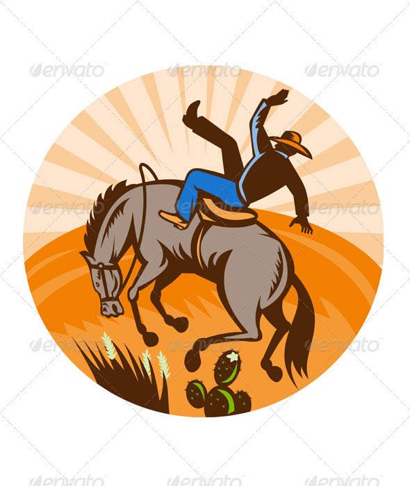 American Rodeo Cowboy Riding Horse - Animals Characters