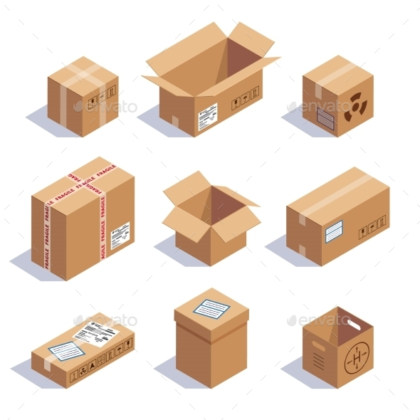 Collection Of Cardboard Boxes - Objects Vectors