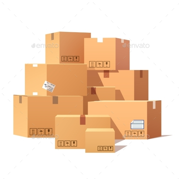 Pile Of Stacked Sealed Goods Cardboard Boxes - Objects Vectors