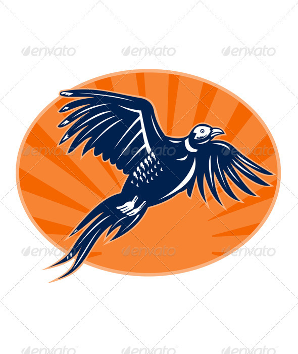 Pheasant Bird Flying Retro Style - Animals Characters