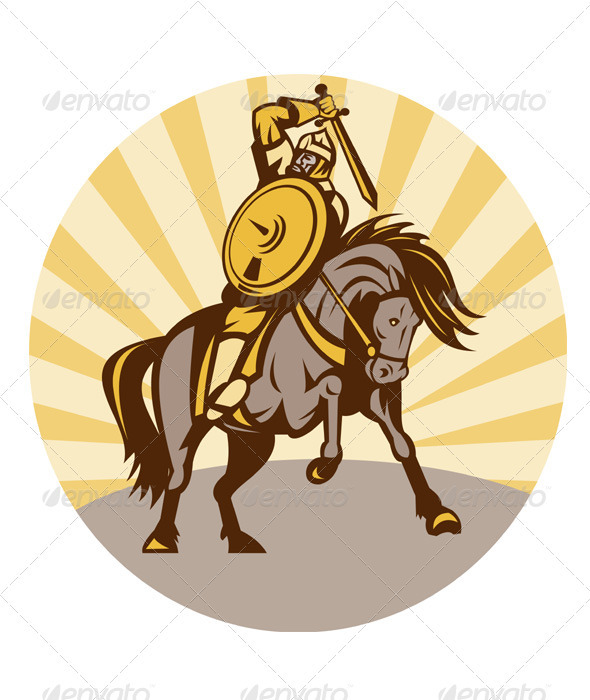 Viking Warrior Riding Horse With Sword - People Characters