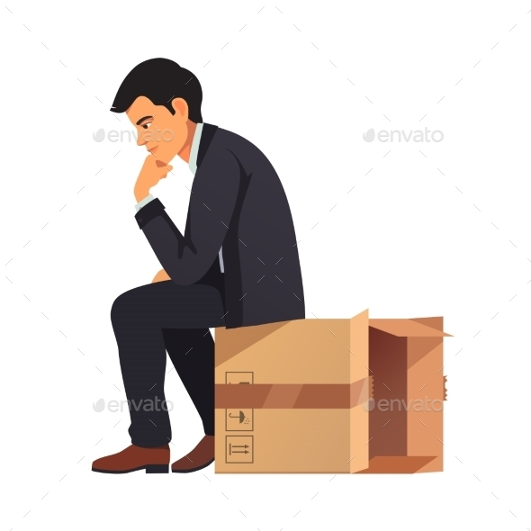 Businessman Thinking Outside the Box Concept - Concepts Business