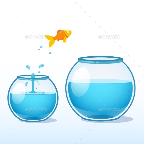 Goldfish Making Leap of Faith to a Bigger Fishbowl - Animals Characters