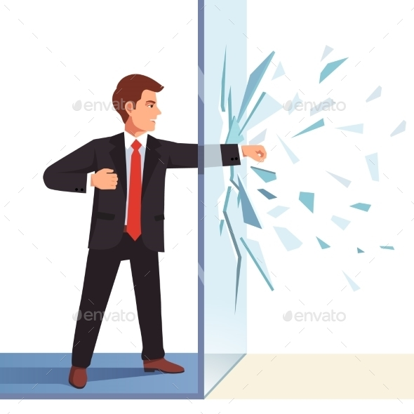 Businessman Breaking Through Invisible Glass Wall - Concepts Business