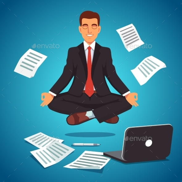 Young Businessman Levitating in Yoga Position - People Characters