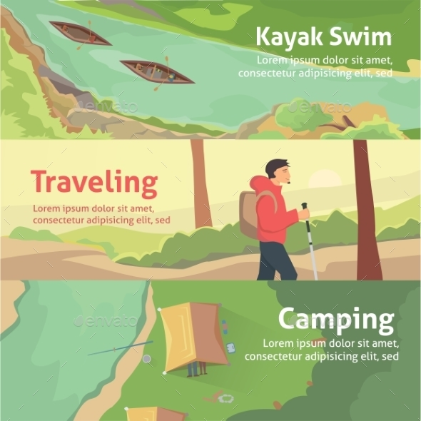 Colourful Camping Vector Flat Banner - Travel Conceptual