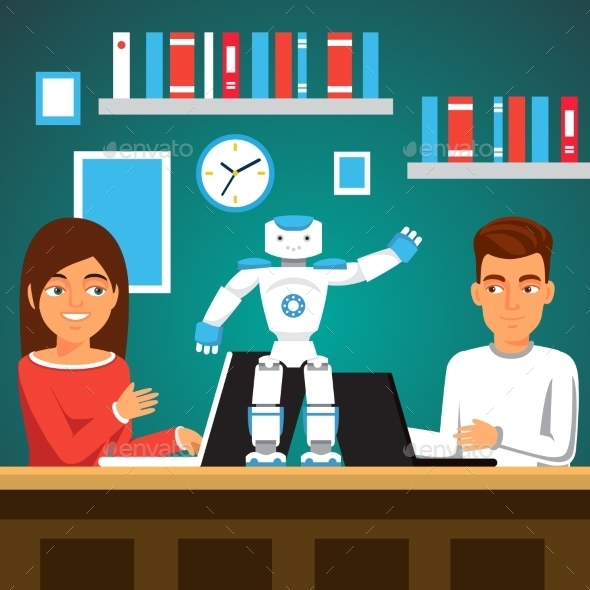 Students Programming Humanoid Bipedal Robot - Miscellaneous Characters